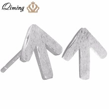 Simple Arrow Earrings For Women Silver Jewelry Lovely Arrows Brushed Matt Post Stud Earrings Fashion Men Jewelry Gift(Hong Kong,China)