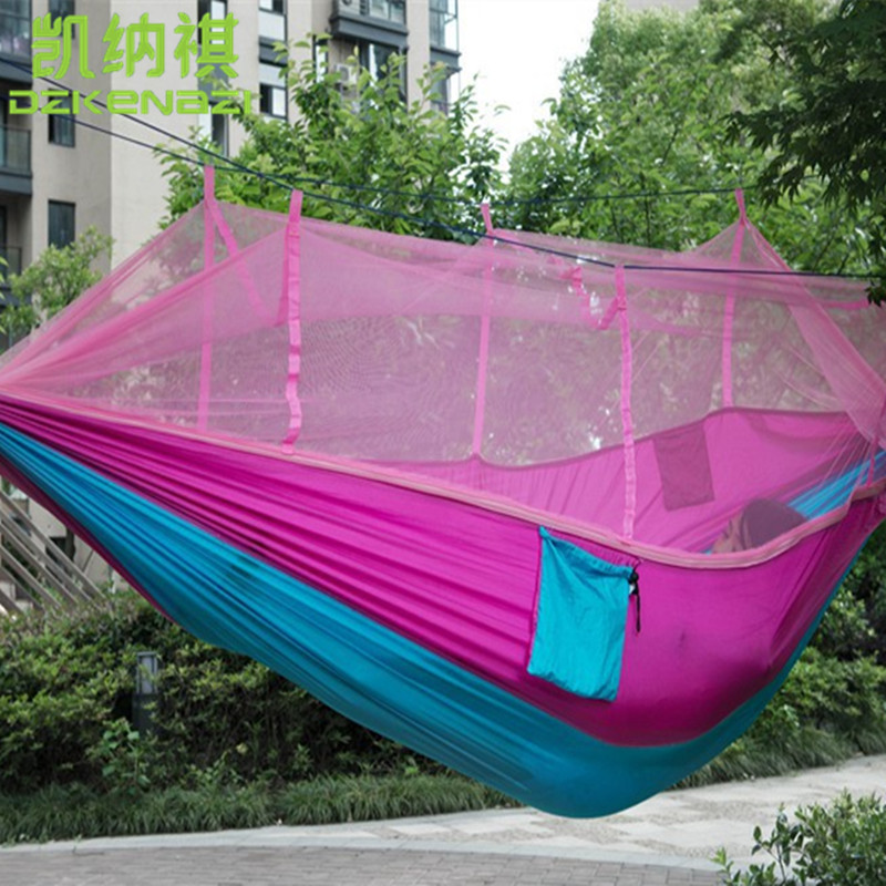 2 8 x 1 5M High Strength Camping 210T Parachute Hammock Hanging Bed With small mesh