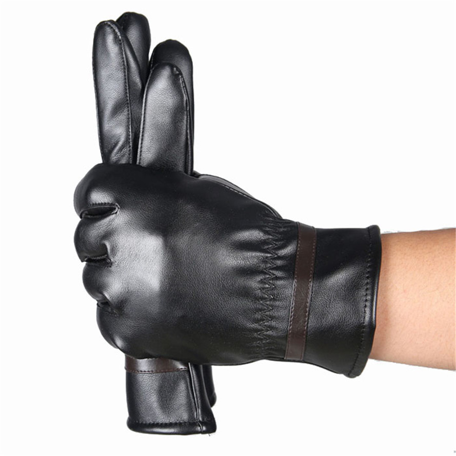 Free Ostrich Men Warm Leather Male Winter Useful Gloves Driving Waterproof PU Gloves Thermal Glove High Quality CJ20