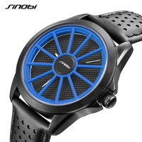 SINOBI Quartz Men Watches Soft Air Hole Leather Watch Band Red Blue Inner Divergence Circle Sport