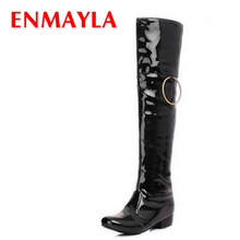 ENMAYER Hot selling Womens leather Embroidered Waterproof Knee High knight Boots and Fashion Rain long Boot  Free Shipping