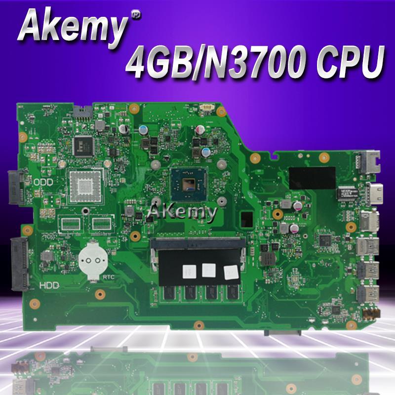 Akemy X751SA Laptop Motherboard N3700 CPU 4GB For ASUS X751S X751SJ X751SV Test Mainboard X751SA Motherboard Test 100% Ok