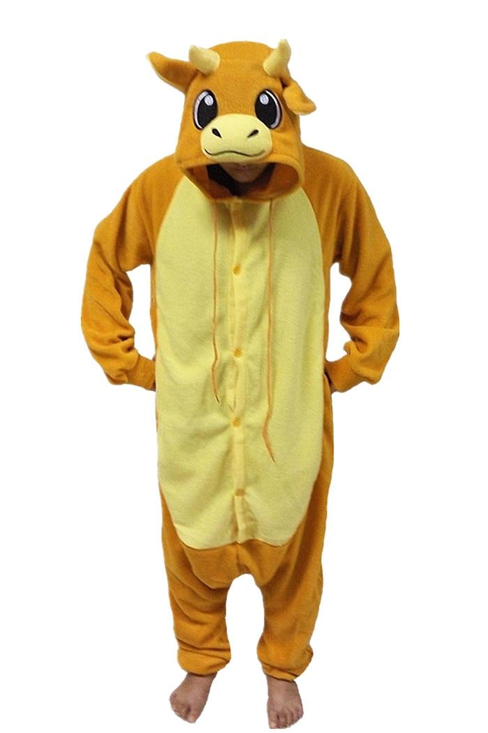 New Animal Pajamas Women Cosplay Costumes Orange Bull Onesies Men Pyjamas Costumes Cartoon Sleepsuit Sleepwear