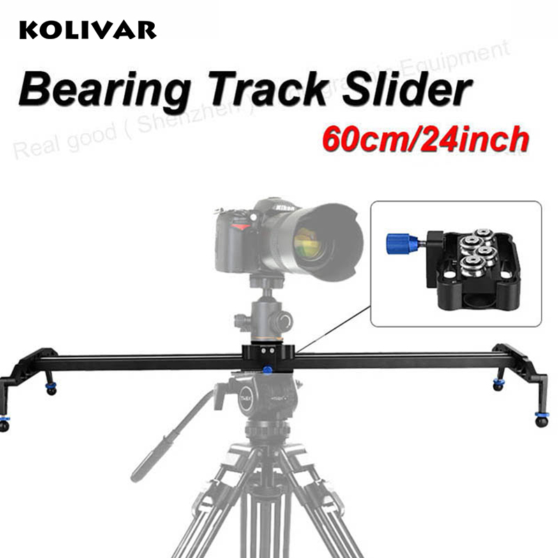 KOLIVAR 60cm/24 Ball Bearing DSLR Camera Slider Dolly Track Video Stabilizer for Canon Nikon Sony DSLR Camcorder Up to 17.7lbs