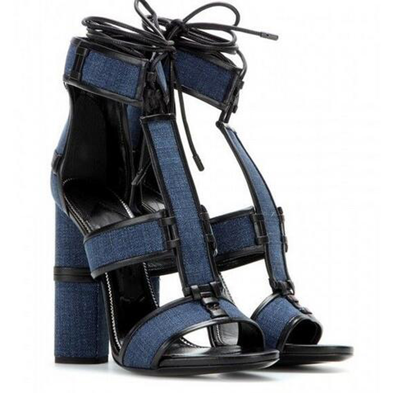 ФОТО Newest Women Lace Up Gladiator Sandals Patchwork Denims Ankle Wrap High Heels Shoes Thick Heels Women Pumps Shoes Top Quality