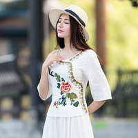 Cotton And Linen Spring And Autumn Embroidery Blouse Chinese Collar Blouses Ethnic Shirt Vintage Plus Size Women Tops