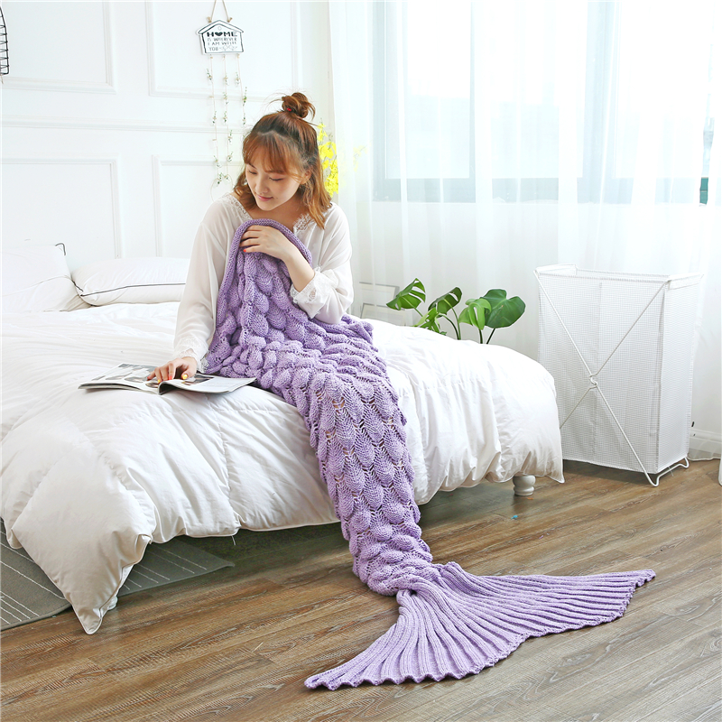 Slowdream Fish Scale Throw Mermaid Tail Knitted Handmade Blanket All Season Birthday Gift For Adult Kids Child Sleeping Bag in Blankets from Home Garden