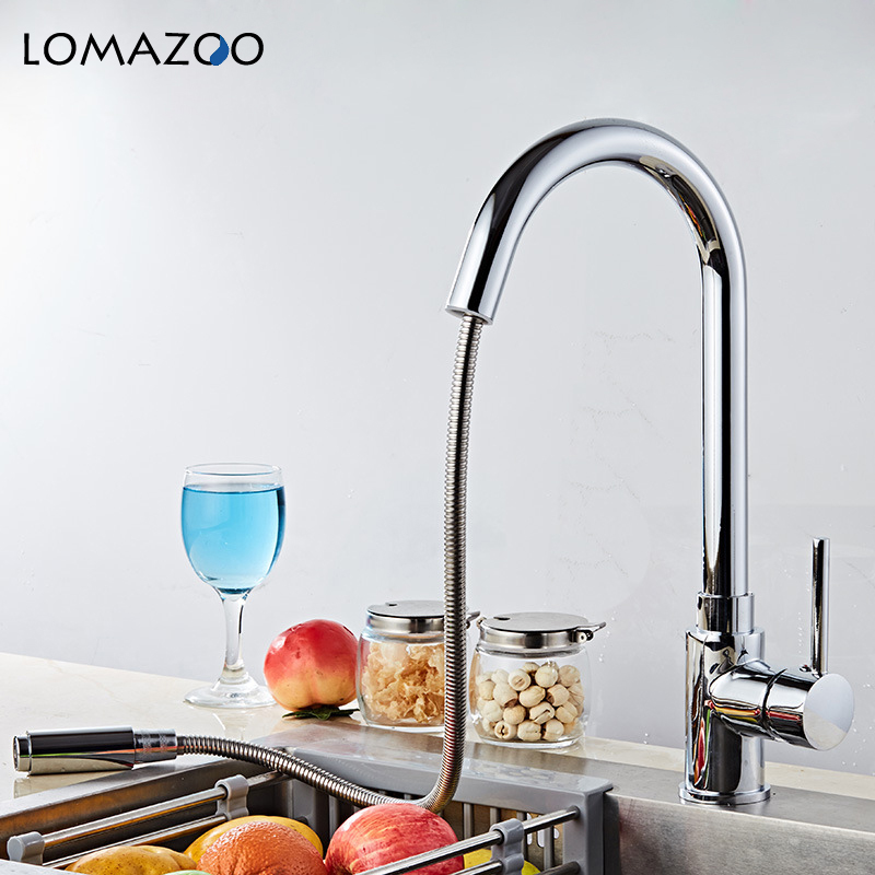 LOMAZOO Telescopic Rotatable Kitchen Faucet Bathroom Sink Faucet Gold Waterfall Faucet Single Handle Brass Rotate