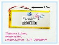 3 Line High Quality Brand 3265123 3 7V 3000MAH Tablet Battery Brand Tablet Gm Lithium Tablet
