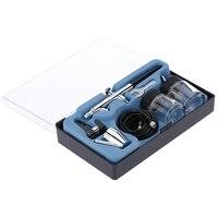 Siphon Feed Dual Action 0 35 Mm Airbrush Kit Spray Tool Air Pinsel Für Make Up Kuchen Kunst Malerei Temporäre Körper Mit EINE Komplette T-in Spritzpistolen aus Werkzeug bei