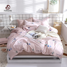 ParkShin Nordic Bedding Set Double Queen Bedspread Duvet Cover Fitted Rubber Sheet Bed Linen Elastic On Band