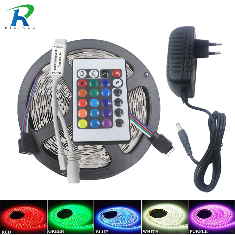 SMD RGB LED Jalur LED Light 5 m 10 m 5050 2835 fleksibel LEDs Pencahayaan 220 V Pita Diode Pita Tahan Air DC 12 V power adapter set