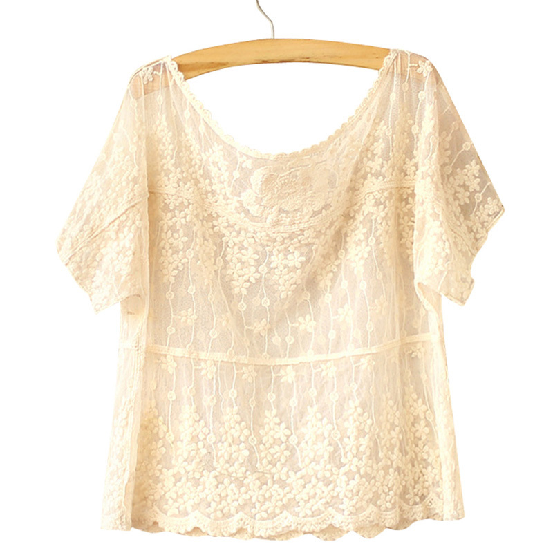 2016 New Designer Pullovers Fashion Short Sleeve Hollow Out Lace Tops For Women WF-5168