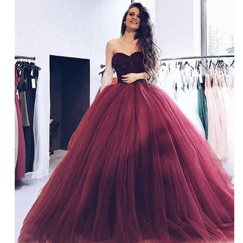 Bungundy Muslim   Evening     Dresses   2019 Ball Gown Sweetheart Tulle Appliques Islamic Dubai Kaftan Saudi Arabic Long   Evening   Gown