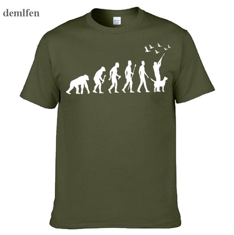 Summer Funny Hunt Evolution Hunter With Dog Duck   T  -  shirt   Men's Casual Cotton Printed   T     Shirt   Short Sleeve Tees Tops