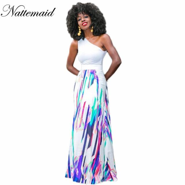 NATTEMAID Africa Le Donne Vestiti Lunghi Donna Una spalla Bianco Tops  Allentato Maxi Abito Colorato a strisce abiti 2 pezzi set 42c74503e32