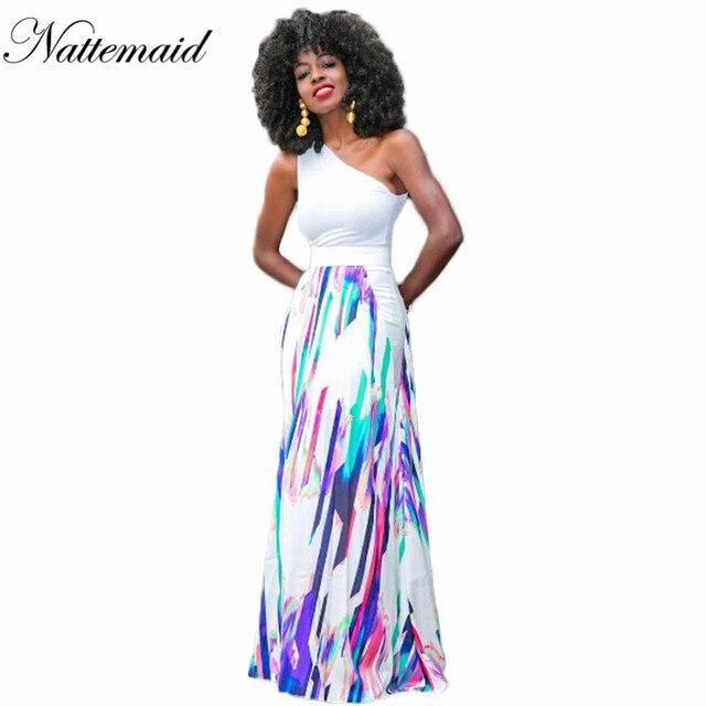 c6f0fbb6490a0c NATTEMAID Afrika Vrouwen Lange Jurken Vrouwelijke Een schouder Wit Tops  Losse Maxi Jurk Kleurrijke gestreepte vestidos
