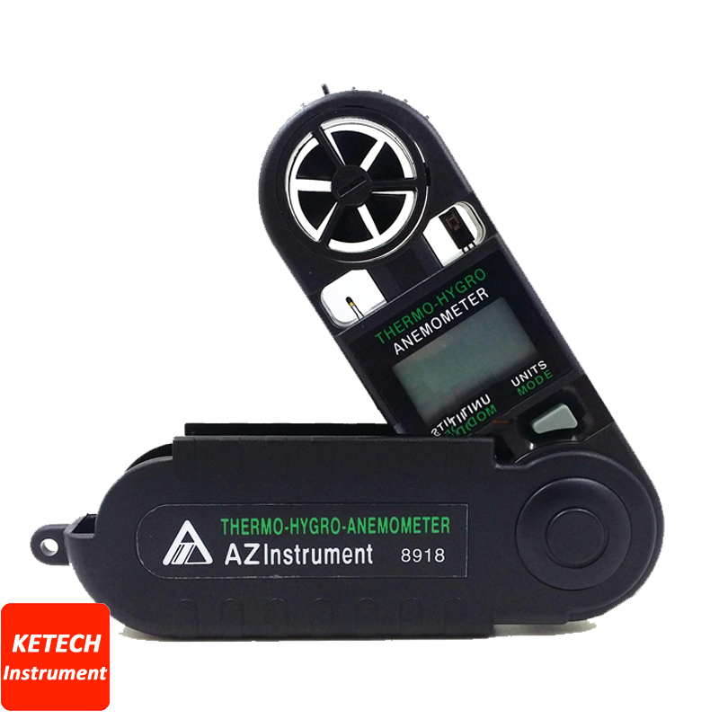 AZ8918 Digital Anemometer Mini Wind Speed Meter Mini Type Thermometer Hygrometer