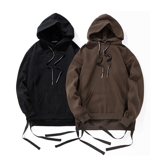 Hi-street Blank Hoodies Men 2017 Winter Thick Fleece Hip Hop Sweatshirts Front Short Back Long Ribbon Hoody Men Brown/Black