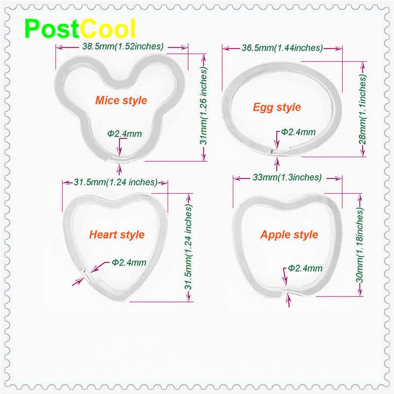 Joyería de moda llavero de Metal anillos divididos llavero Unisex llavero ratón/huevo/corazón/accesorios de diseño de manzana conclusiones AE