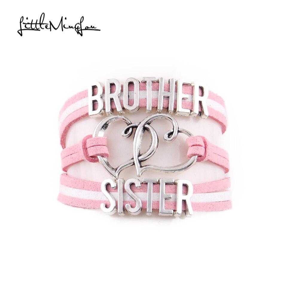 Little Minglou брат любовь сестра Подвеска для браслета в форме сердца замши обёрточная бумага для мужчин браслеты для женщин jewelry семья подарок