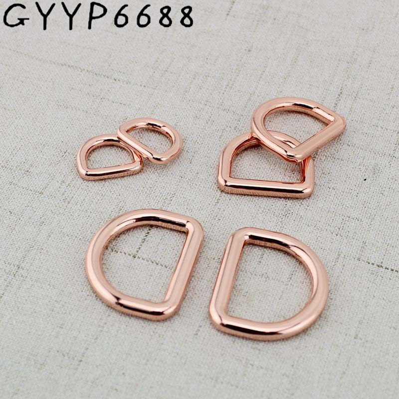 4pcs 13mm 19mm 25mm Rose Gold Bags' Polished Nickel Inside Bags Metal Accessory Alloy Round Welded D Ring DIY Bag Parts
