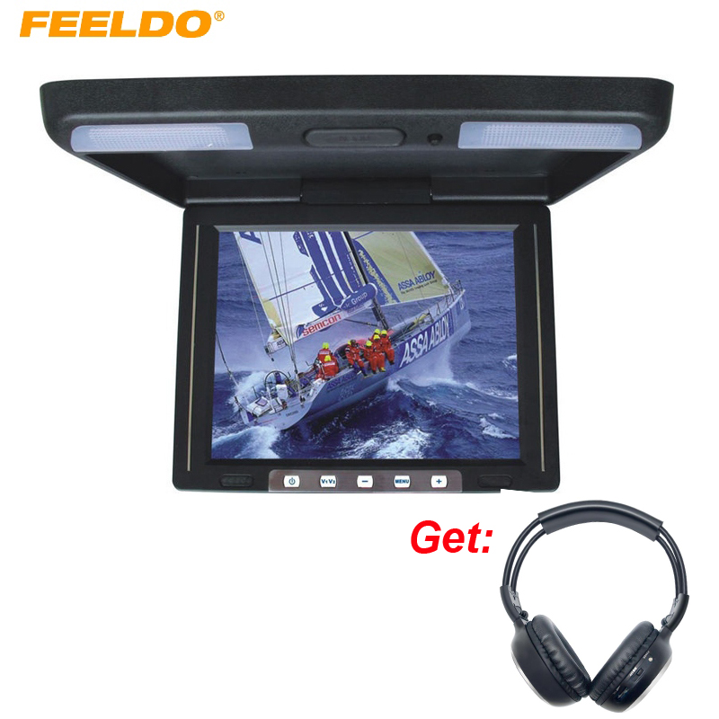 FEELDO 11.3 Roof Mounted TFT LCD Monitor 2-Way Video Input 11.3 Inches Flip Down Car Truck Monitor +Wireless IR Headphones r407c r410a electric compressor for srv camping car caravan roof top mounted travelling truck ac