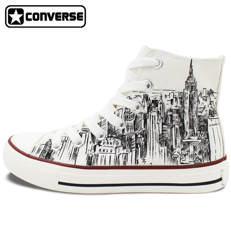 71a6ec2ee47241 Custom Hand Painted Shoes Converse All Star I Love New York City Sketch  High Top White Canvas Sneakers Men Women Christmas Gifts-in Skateboarding  Shoes from ...