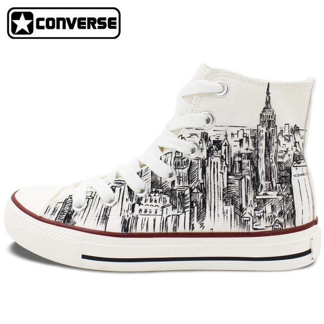 2577ed56454e Custom Hand Painted Shoes Converse All Star I Love New York City Sketch  High Top White