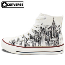 Custom Hand Painted Shoes Converse All Star I Love New York City Sketch High Top White Canvas Sneakers Men Women Christmas Gifts