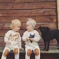 9 M-36 M Niños Muchachos de Los Sistemas 2016 Algodón Otoño Lindo Bebé Niñas Tops + Pants Kids Estrella Beige Casual 2 Unidades Conjuntos Para Niñas ropa