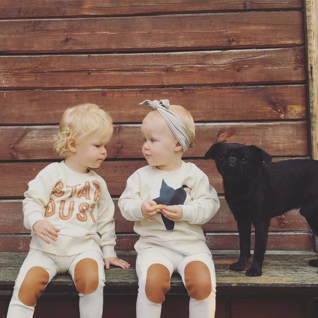 9M-36M Children Boys Sets 2016 Autumn Cotton Cute Baby Girls Tops+Pants Kids Star Beige Casual 2 Piece Sets For Girls Clothes