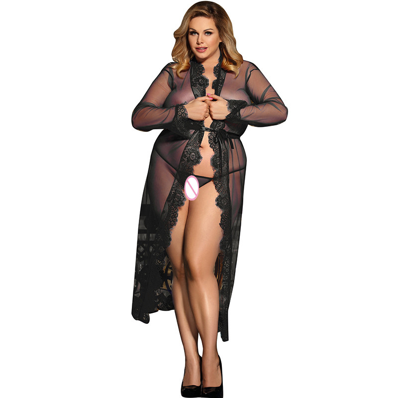 Pajamas For Women 2017 New Sexy lingerie Erotic Lingerie Sleepwear 4 Colors Delicate Lace Long Sleepwear Gown Plus Size R80507