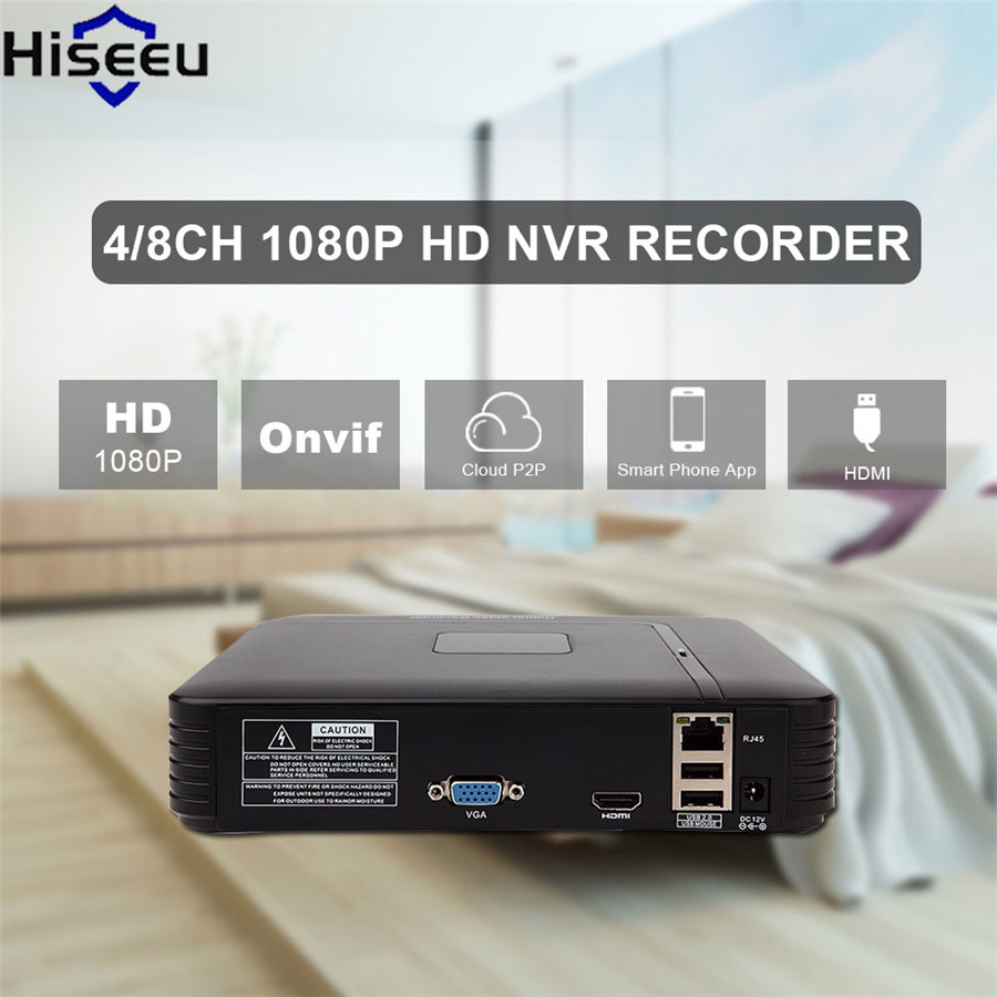 Hiseeu Mini 4CH NVR 1920 * 1080P ONVIF 2.0 For IP Camera H.264 VGA HDMI CCTV Security System For CCTV Kit CCTV Dvr Dropshipping