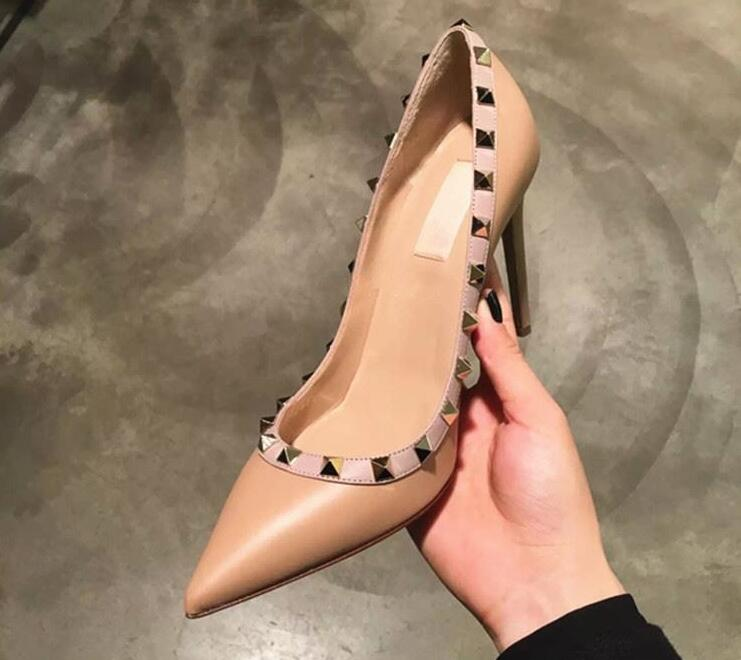Free Shipping! 35-43 New 2019 Fashion fashion lady High Heels shoes real cowhide real leather Wedding Shoes Pumps Stud Sandals