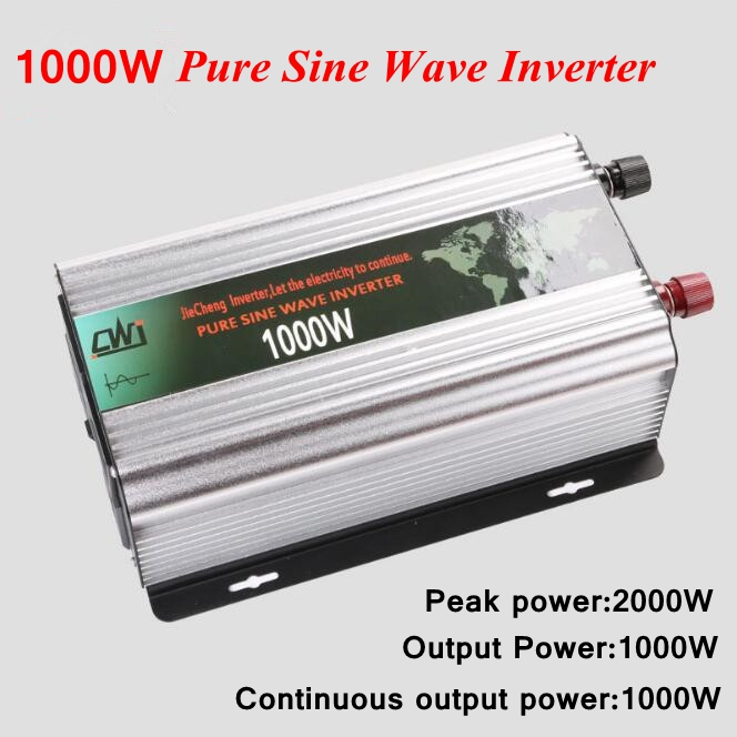 1000W Pure Sine Wave Inverter DC 12V/24V to AC 110V/220V Solar Power Inverter Converter Dual LCD Display Car Inverter Converter