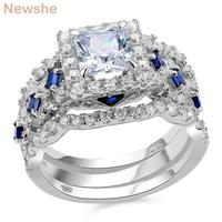 New 3 Pcs Solid 925 Sterling Silver Halo Wedding Ring Sets Princess Cut CZ Fashionable Jewelry