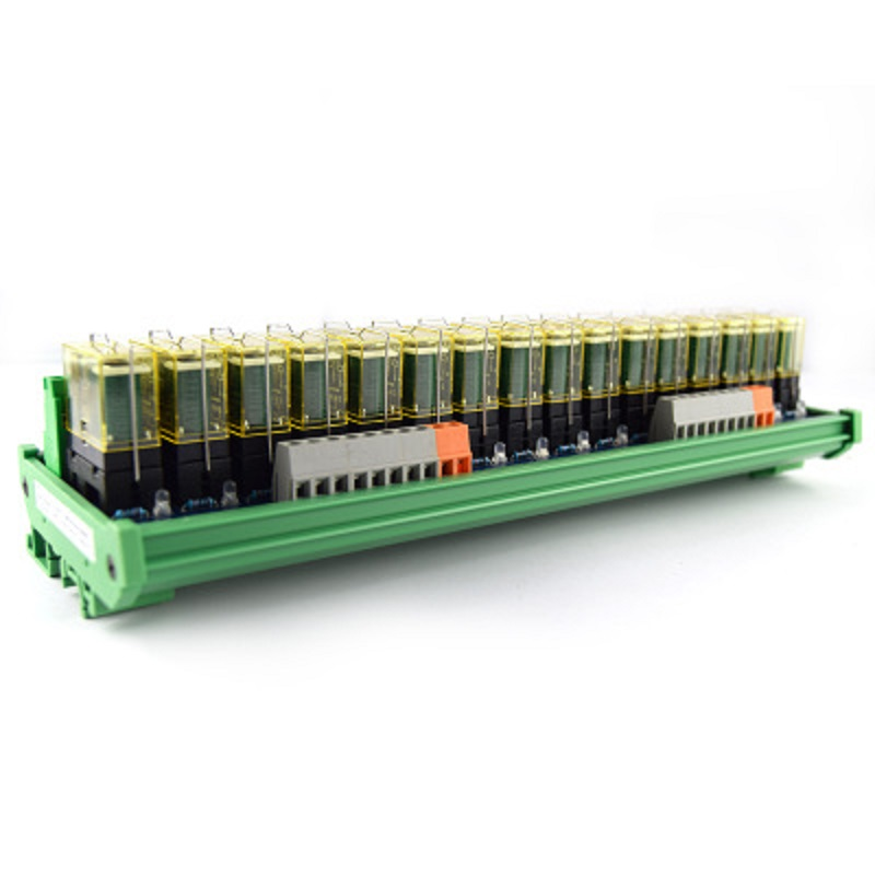 16-way relay double-group module, 24V rail installation, PLC amplifier board control board 16 way intermediate relay module plc expansion board belt guide rail high or low trigger 5 12 24v optional