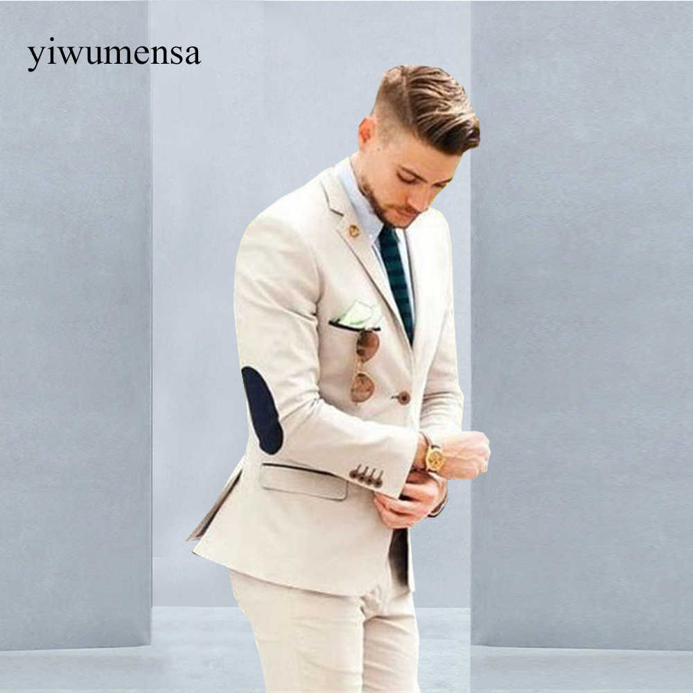 YIWUMENSA Luxury  Single Breasted Beige Blazer Groom Men's Suits For Wedding Coat With Pants Custom Made Groomsman 2021