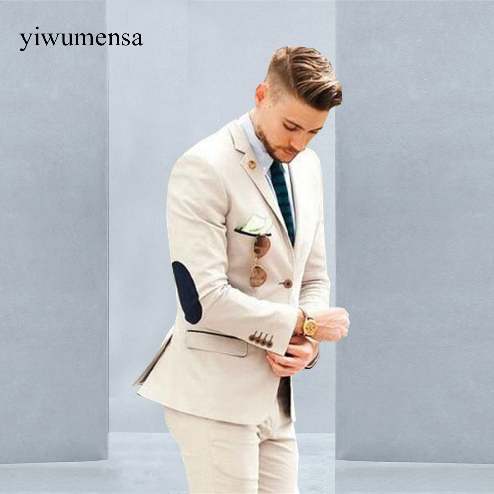 YWMS 18 Italian Luxury Beige Mens Suit Jacket Pants Formal Dress Men ...