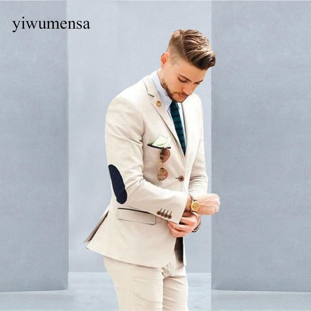 YWMS-18 Italian Luxury Beige Mens Suit Jacket Pants Formal Dress Men Suit Set Men Wedding Suit For Men Groom Tuxedos Suits 2018