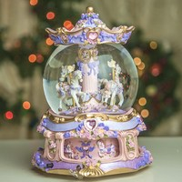 Merry Christmas Free Shipping Oversized With Lamp Luminous Merry go round Crystal Ball Music Box Birthday Gift A Undertakes To