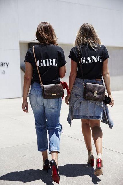 82503174c GIRL GANG Cotton T-Shirt Casual Funny Letter T Shirt Women/Men Fashion  Hipster