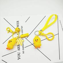 YOUYANG new Ducks dance keychain cartoon  metal keyring bag hang ornaments hand-made DIY accessries little gift