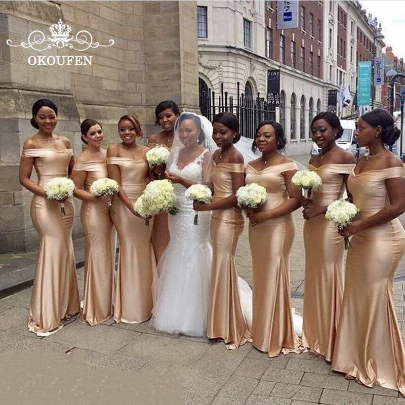 Champagne foncé Satin sirène robes de demoiselle d'honneur épaule dénudée longue robe de mariée invité fête de mariage pour les femmes Vestido Madrinha