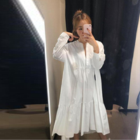 631fdf81daa1 SuperAen New Ladies White Dress Solid Color Cotton Fashion Women Dress  Summer 2019 Long Sleeve Korean