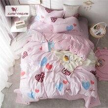 Slowdream Love Heart Duvet Cover Set Pink Bedding Set Double Queen King Bed Linen Set Euro Bedclothes Decor Home Textiles Set все цены