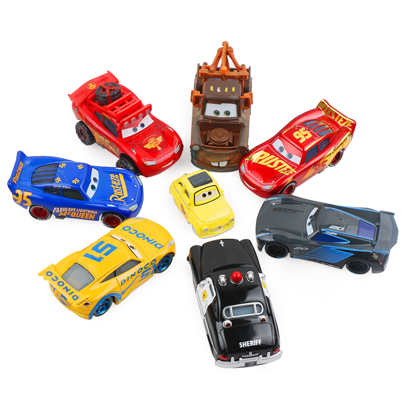 Disney Pixar Cars 2 3 Lightning McQueen Mater Jackson Storm Ramirez 1:55 Diecast Metal Alloy Car Model Christmas Kids Toys Gifts