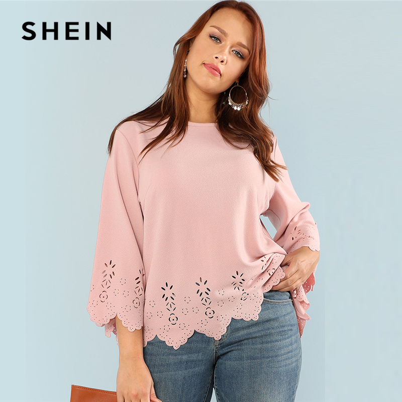 7e8bc3f4be2 SHEIN Laser Cut Solid Top Round Neck Three Quarter Length Flounce Sleeve  Plus Size Blouse Women Elegant Pink Top
