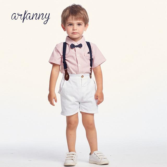 902c88b286cb5 Bébé printemps et été vêtements enfants costumes beau chemise costume garçon  bébé ensemble enfants noeud papillon rayé salopette cravate vêtements